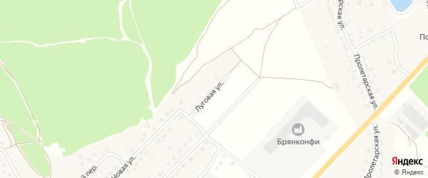 Луговая улица на карте деревни Дубровки с номерами домов