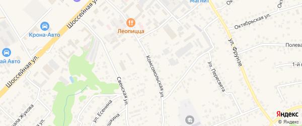 Комсомольская улица на карте села Супонево с номерами домов