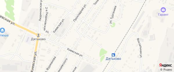 Железнодорожная улица на карте Дятьково с номерами домов