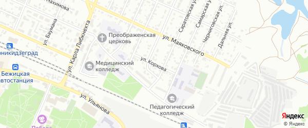 Улица Корхова на карте Брянска с номерами домов