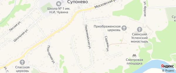 Первомайская улица на карте села Супонево с номерами домов