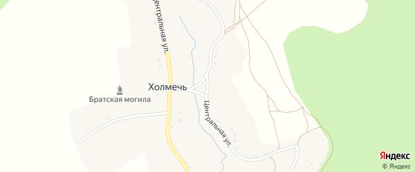 Центральная улица на карте деревни Холмечи с номерами домов