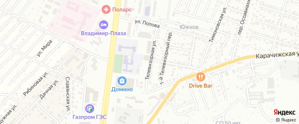 Телевизорная улица на карте Брянска с номерами домов