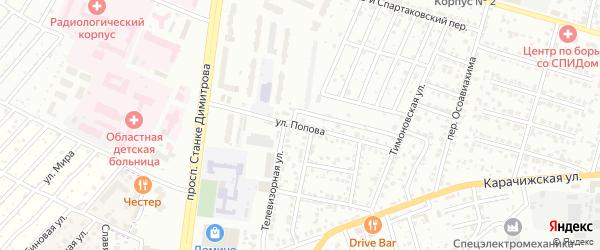 Улица Попова на карте Брянска с номерами домов