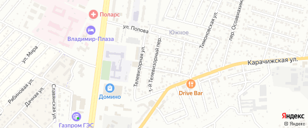 1-й Телевизорный переулок на карте Брянска с номерами домов