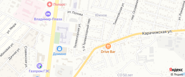 Антоновский переулок на карте Брянска с номерами домов