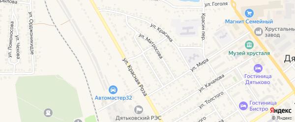 Улица Краснодонцев на карте Дятьково с номерами домов