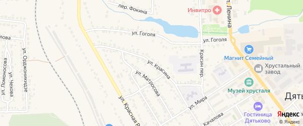 Улица Красина на карте Дятьково с номерами домов