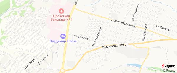 Территория СО Южное на карте Брянска с номерами домов