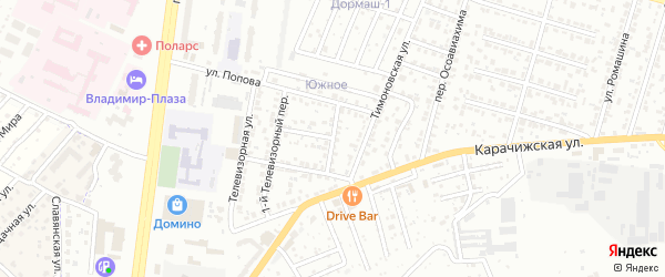 2-й Телевизорный переулок на карте Брянска с номерами домов