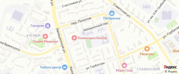Авиационный переулок на карте Брянска с номерами домов