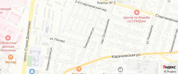Тимоновская улица на карте Брянска с номерами домов
