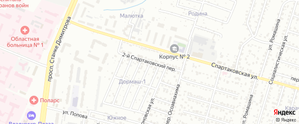 2-й Спартаковский переулок на карте Брянска с номерами домов