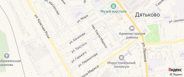 Улица Толстого на карте Дятьково с номерами домов