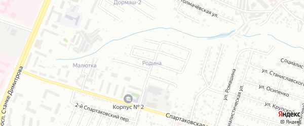 Территория ГСК Родина на карте Брянска с номерами домов