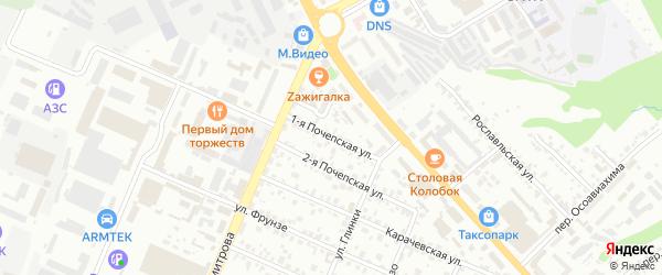 1-я Почепская улица на карте Брянска с номерами домов