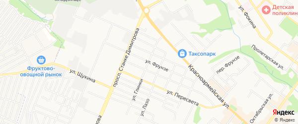 Территория СО им. Фрунзе на карте Брянска с номерами домов