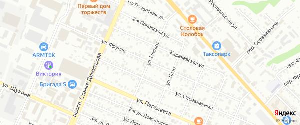 Улица Фрунзе на карте Брянска с номерами домов