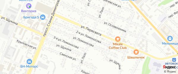 Улица 2-я Ломоносова на карте Брянска с номерами домов