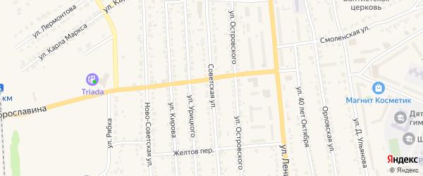 Советская улица на карте Дятьково с номерами домов
