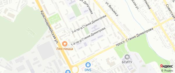 Проезд 1-й Станке Димитрова на карте Брянска с номерами домов