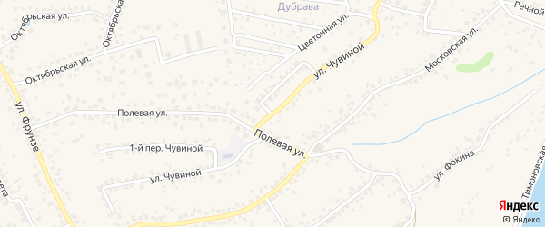 Улица Чувиной на карте села Супонево с номерами домов