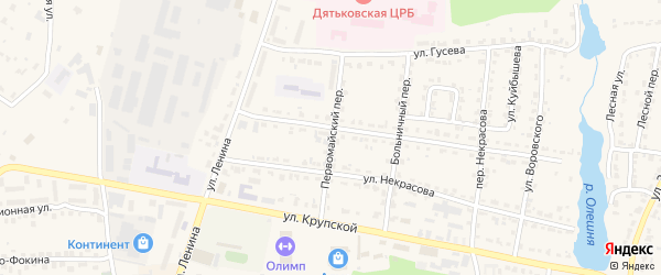 Первомайский переулок на карте Дятьково с номерами домов