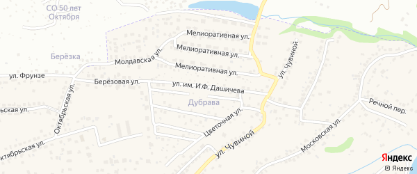 Улица Имени генерала-майора Дашичева И.Ф. на карте села Супонево с номерами домов