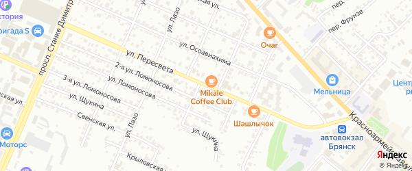 Улица Пересвета на карте Брянска с номерами домов