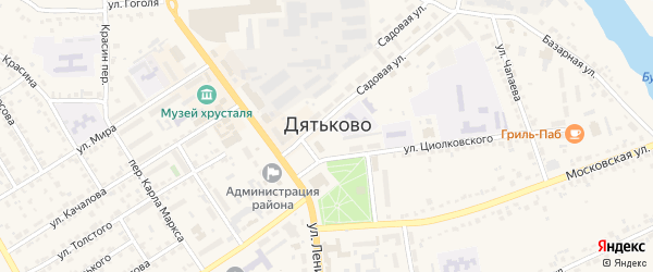 Переулок Луначарского на карте Дятьково с номерами домов