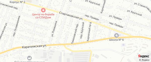 Тимоновский переулок на карте Брянска с номерами домов