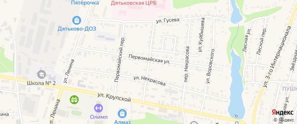 Больничный переулок на карте Дятьково с номерами домов