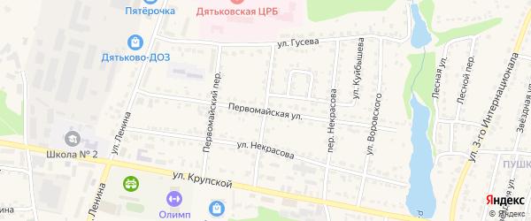 Первомайская улица на карте Дятьково с номерами домов