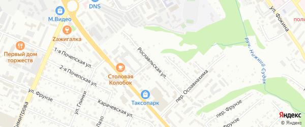Рославльская улица на карте Брянска с номерами домов