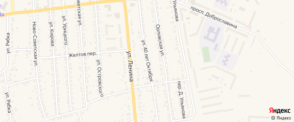 Улица 40 лет Октября на карте Дятьково с номерами домов