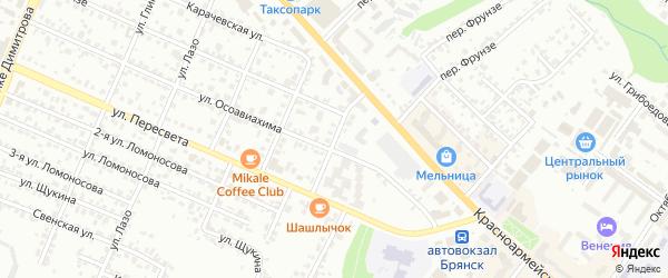 1-й Красноармейский переулок на карте Брянска с номерами домов