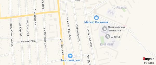 Орловская улица на карте Дятьково с номерами домов