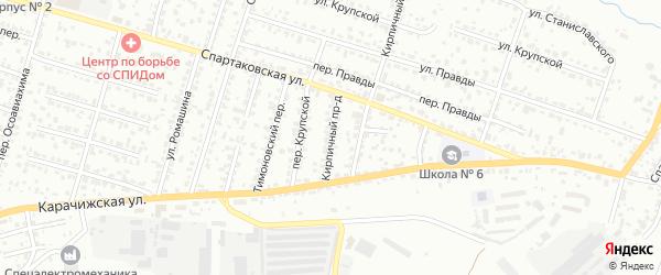 Кирпичный проезд на карте Брянска с номерами домов