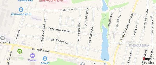 Переулок Некрасова на карте Дятьково с номерами домов