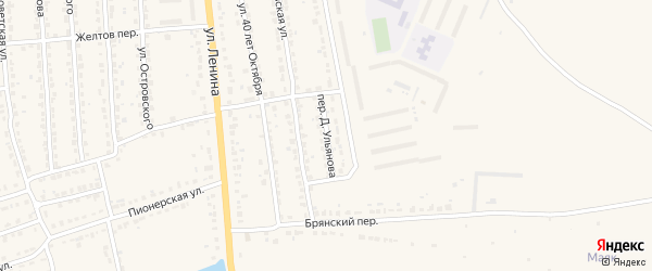 Переулок Д.Ульянова на карте Дятьково с номерами домов