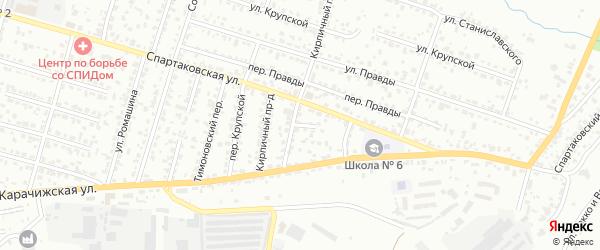 Кирпичная улица на карте Брянска с номерами домов