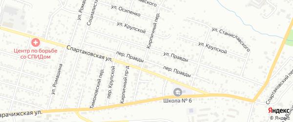 Переулок Правды на карте Брянска с номерами домов