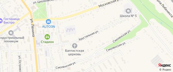 Хрустальная улица на карте Дятьково с номерами домов