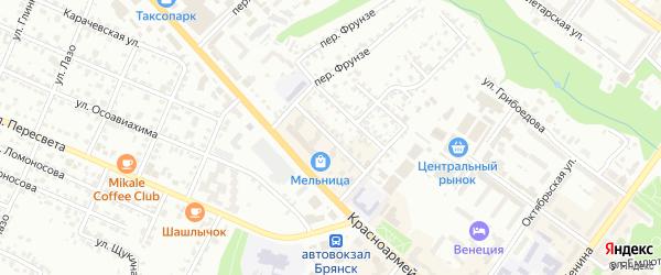 4-й Красноармейский переулок на карте Брянска с номерами домов