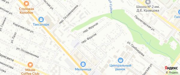 Переулок Фрунзе на карте Брянска с номерами домов