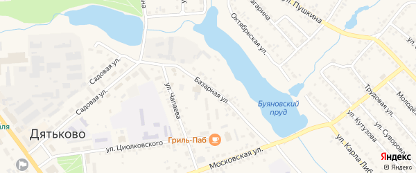 Базарная улица на карте Дятьково с номерами домов