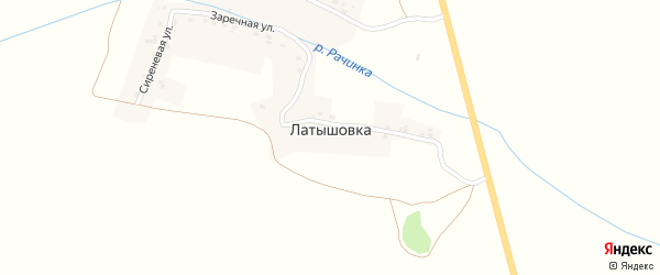 Заречная улица на карте деревни Латышовки с номерами домов