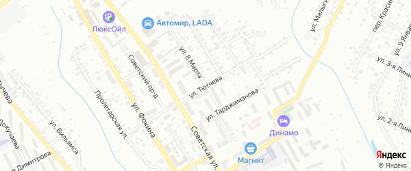 Улица Тютчева на карте Брянска с номерами домов