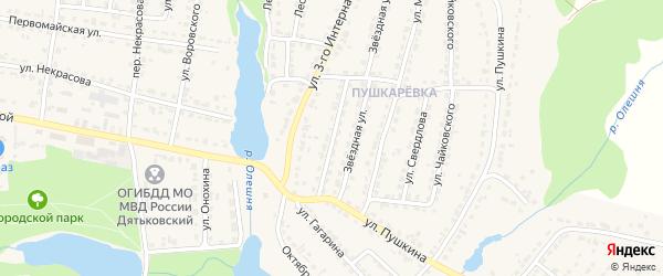 Переулок 3-го Интернационала на карте Дятьково с номерами домов