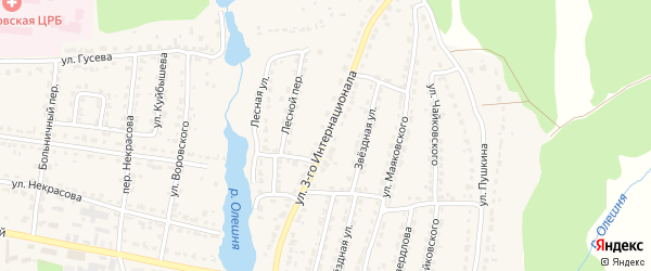Улица 3-го Интернационала на карте Дятьково с номерами домов